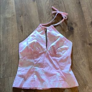 INC Stretch pink and white halter top sz 4 petite